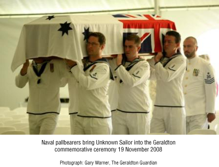 Naval pallbearers bring Unknown Sailor into the Geraldton commemorative ceremony 19 November 2008.