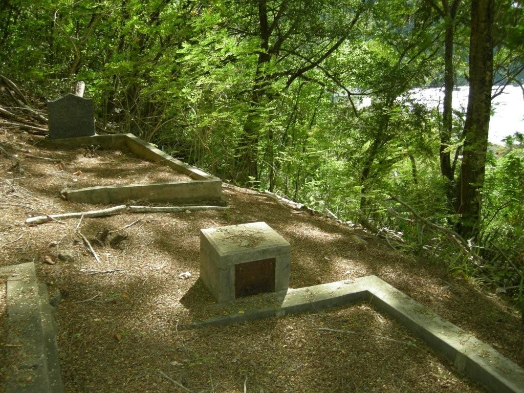 Site of Unknown Sailor's original grave on Christmas Island, between the two graves shown. Photograph: Glenys McDonald AM